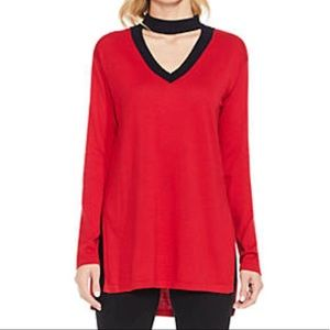 NWT Vince Camuto Red Black Choker Sweater